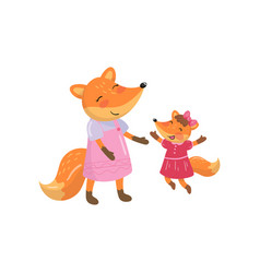 cartoon fox family mom and her little baby forest vector image