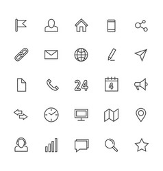 contact line icons media and internet vector image