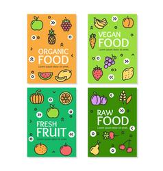fresh fruit raw organic vegan food flyer banner vector image