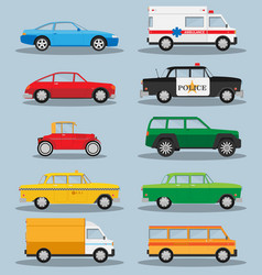 set of various city urban traffic vehicles icons vector image