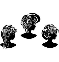 set of wicked girl profiles vector image