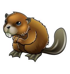 Cute beaver vector