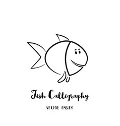 Fish calligraphy emblem vector