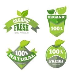 Natural green organic eco labels set vector image vector image