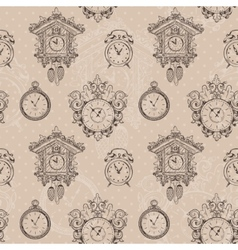 Old vintage clock seamless pattern vector image vector image