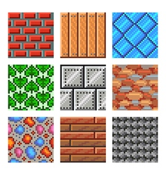 Pixel seamless textures for games icons set vector image vector image