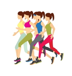 Running girls vector image vector image