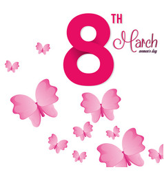 8 march womens day pink butterfly vector image vector image