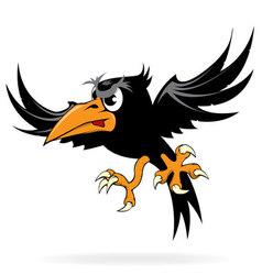Angry cartoon crow vector image vector image