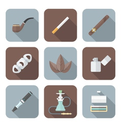 colored flat style various tobacco goods tools vector image vector image