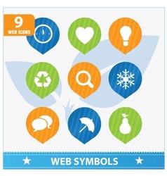 Internet web flat symbols set vector image