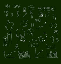 Set of hand drown icons on chalkboard for vector