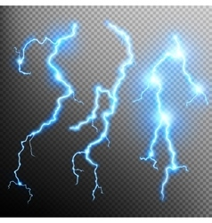 Set of isolated realistic lightnings EPS 10 vector image vector image