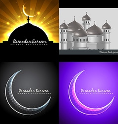 attractive background set of ramadan kareem vector image