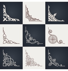 Calligraphic design elements Vintage corners set vector image vector image