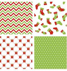 christmas seamless patterns chevron stockings vector image