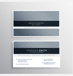 Clean business card template with wavy lines vector
