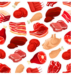 fresh pork and beef meat seamless pattern vector image