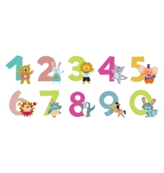 Kids numbers with cartoon animals vector