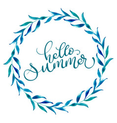 round frame of leaves and text hello summer vector image
