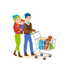 the family walks on the store for shopping vector image vector image