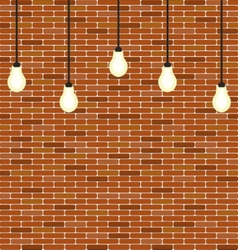Wall brick with hanging bulbs decoration vector image