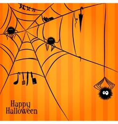 Web spiders and some things in Halloween style vector image vector image