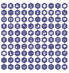 100 health icons hexagon purple vector
