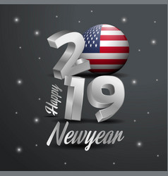 2019 happy new year united states of america flag vector image
