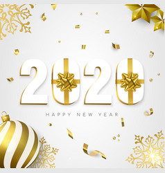 2020 new year card gift holiday gold decoration vector image