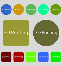 3D Print sign icon 3d-Printing symbol 12 colored vector