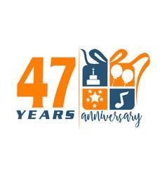 47 year gift box ribbon anniversa vector