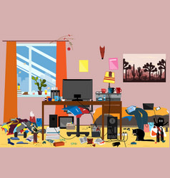 a disorganized room littered with pieces of trash vector image