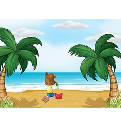 A little girl playing at beach alone vector