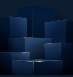 Abstract blue and gold geometric podiums luxury vector