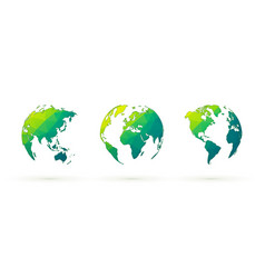 abstract green globes set world planet earth with vector image