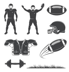 american football icons collection set of vector image