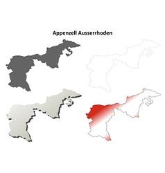 Appenzell Ausserrhoden blank detailed outline map vector