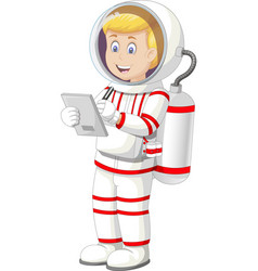 Astronaut man in white red suit uniform with pen vector