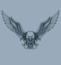 Attacking eagle tattoo style vector