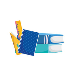 Back to school education notepad books and ruler vector