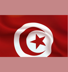 Background tunisian flag in folds republic of vector