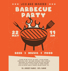 Barbecue party flyer bbq poster template design vector