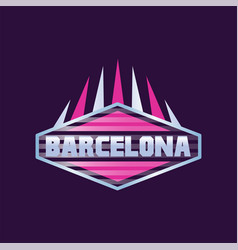 Barcelona city logo design in hexagon shape vector