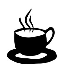 Black silhouette hand drawn of hot coffee cup on vector