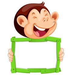 blank sign template with cute monkey on white vector image