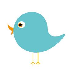 Blue cute cartoon bird animal icon vector