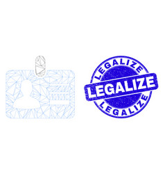 Blue scratched legalize stamp and web mesh user id vector