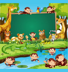 Border template design with cute animals in forest vector