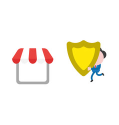 Businessman character running and carrying shield vector